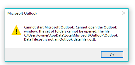OST is Not A Valid File
