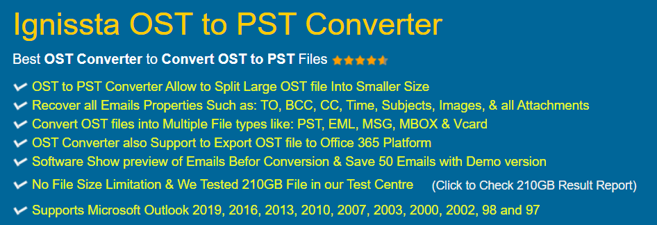 Ignissta OST to PST Converter Features